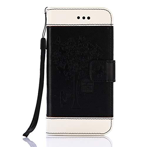 GUOQING Funda de piel sintética tipo cartera para teléfono Galaxy S8/S8Plus, con ranuras para tarjetas y soporte para Samsung Galaxy S8/S8Plus (color negro).