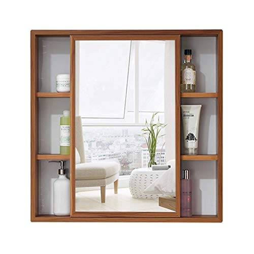 HIZLJJ Mirrored Bathroom Wall Storage Cabinet with Adjustable Shelf, Wooden Medicine Cabinet Wall-Mounted Left and Right Sliding Door Home Bathroom Bathroom Wall Hanging Cabinet (Size : S)