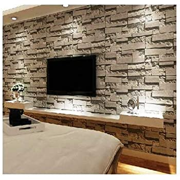 Eurotex Stone 3d Design Wallpaper For Covering Living Room Bedroom Walls Pvc 57sqft Grey Color Amazon In Home Improvement