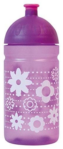 ISYbe Original Marken-Trink-Flasche für Klein-Kinder, 500 ml, BPA-frei, lila Blume-Motiv für Mädchen, geeignet für Schule-Reisen-Kita-Kiga-Outdoor, Auslaufsicher auch mit Sprudel, Spülmaschine-fest