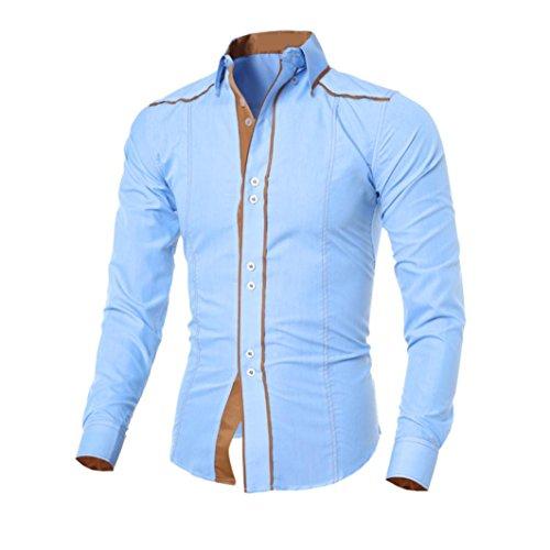 Herren Hemd,Sannysis Männer Casual Langarmshirt Top Bluse (L, Blau)