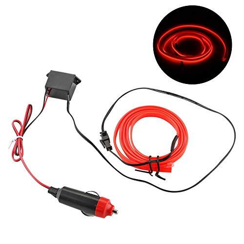 CNSD 1M de Coches de neón Flexible del Alambre lámpara Decorativa Luz Tiras Auto Car Styling Lámparas Luces de la decoración de Interiores 12V LED frío (Emitting Color : Red)