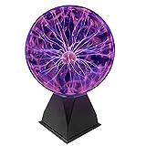 EasyGo Product 8 Inch Plasma Ball Tornado Touch & Sound Sensitive Large Globe Sphere Birthday Lava Style Moon Kids Room Lamp