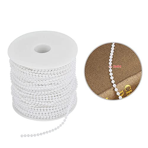 Pearl Beads, Bead String Pearls Beads, Bead Garland 50M/Roll for Wedding Christmas Day(white)