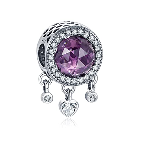 Annmors October Birthstone Charms 925 Sterling Silver Simulated Tourmaline Dream Catcher para Pulseras