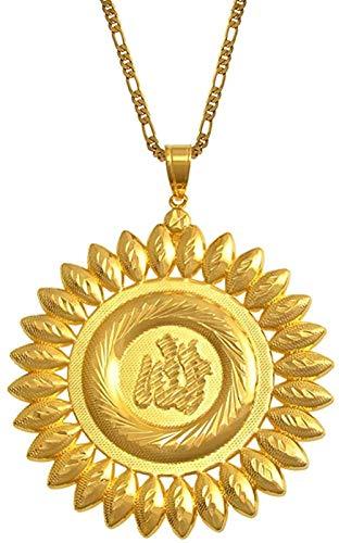 BEISUOSIBYW Co.,Ltd Collar de 7 5 cm, Collares con Colgante de Alá Grande, Collar Africano de Color Dorado, joyería islámica, Regalo, Regalo de Oriente Medio