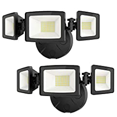 Excellent brightness: led outside security light come with 56 led units, producing up to 5000lm high brightness output and good heat dissipation. Adjustable design: equipped with 3 light heads, you can adjust them to different angle as your requireme...