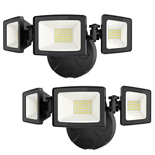 Onforu 2 Pack 50W LED Security Light, 5000LM Outdoor Flood Light Fixture with 3 Adjustable Heads, IP65 Waterproof, 5000K White Wall Mount Security Light for Eave, Exterior Garden, Porch