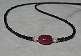 JP_BEADS Ruby Choker, Opal Choker, Black Spinel Choker, Spinel Necklace, Black Spinel Bracelet, Ruby Necklace, Black Choker, Dainty Choker 5 x 7 mm
