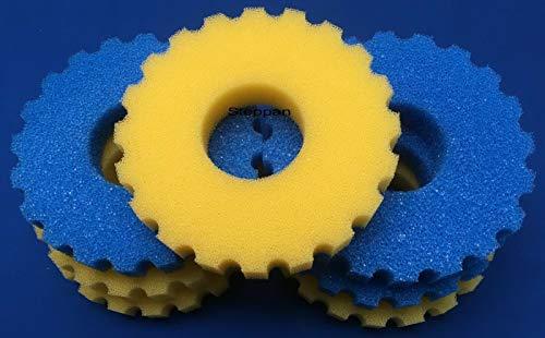 Steppan 1 Set Ersatzfilter für SunSun CPF 15000 Druckfilter. Das Set besteht aus 3 x Filterschwamm blau grob und 4 x Filterschwamm gelb feinporig. Durchm. ca. 260 mm und die Höhe ca. 50 mm pro Matte.