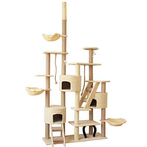 RONGJJ Mehrstöckiger Kratzbaum mit Sisal überzogenen, Katzenbaum mit Häuschen für Kätzchen Katzen und Haustier 240-270 cm Einstellbar, Beige