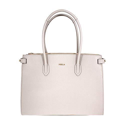 Furla Pin Ladies Medium White Perla Textured Leather Tote 977686