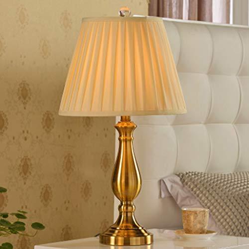 Decoratieve retro koperen tafellamp, K9 Crystal Lamp Cap dubbele stof lampenkap chroom proces lamp lichaam leeslamp, slaapkamer studie decoratie bureaulamp
