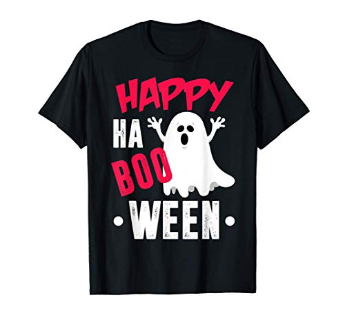 Happy Ha Boo Ween, Happy Halloween Cute Bed Sheet Ghost T-Shirt