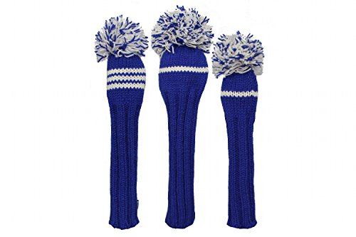 Sunfish Knit Wool Golf Headcover Set Driver Fairway Hybrid Blue and White