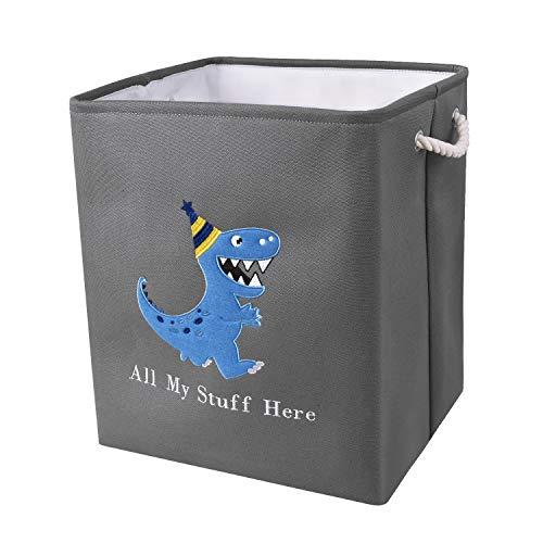 WERNNSAI Cesto para la Ropa de Dinosaurios - 40 × 33 × 45cm Cesto para Guardar de Lona Plegables Guardería Cestas de Regalo para Bebés Niños Juguetes Ropa Zapatos Organizador del Hogar