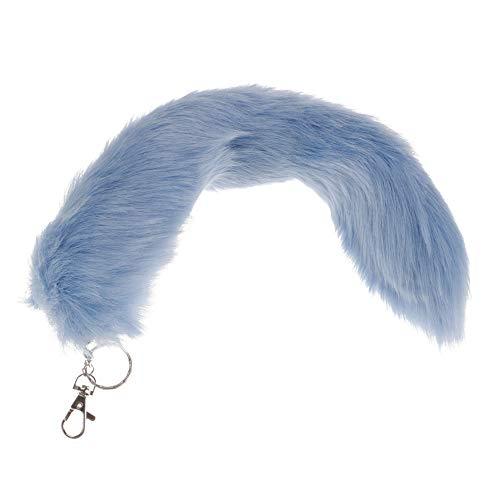Kunstlich Fuchsschwanz Taschenanhänger Einfarbig Fuchsschweif Schlüsselanhänger Rucksack Deko Anhänger Metall Schlüsselbund Damentasche Deko 34cm (Blau)