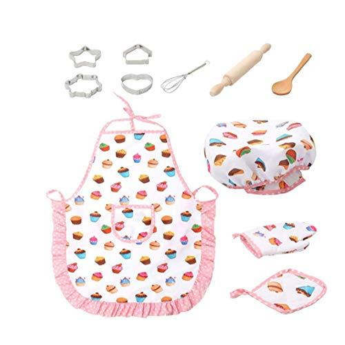 YZLSM 11 Stück Für Kinder Kochen Und Backen Set Kids Chef Rollenspiele Einschließlich Schürze Chef-Hut Utensilien Kuchen Cutter Kinder Küche Spielzeug DIY Mold