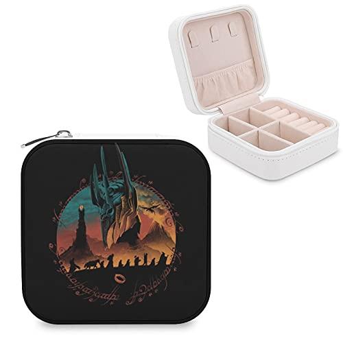 Lord Rings Hobbit Joyero de piel sintética de viaje portátil, para collar, pendientes, pulseras, anillos, relojes, caja de almacenamiento para mujeres