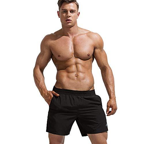 Badehose Für Herren,Männer Lässig Sport Shorts Sommer Fitness Strand Hosen Muskel Kerlen Wasser Sport Hose Schwarz Big Size Stretch Atmungsaktiv Home Shorts, Bild, L