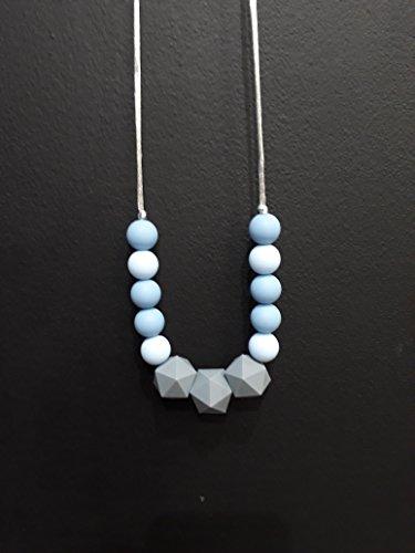 Collier de Portage et d'allaitement, anneau de dentition Gris et Bleu pastel