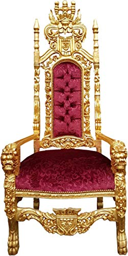 Casa Padrino Barock Thron Sessel Bordeaux Rot Muster/Gold Königssessel -...