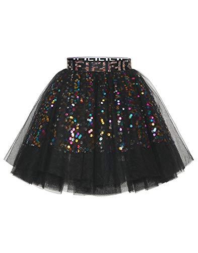 MuaDress Mini Tüllrock Shimmer Glam Pailletten verziert Tutu Sexy Festliche Kostüm Schwarz XL