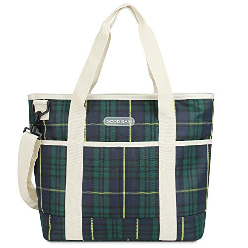 Good Gain Insulated Bag, Cooler Tote Bag with Zipper Gift, Picnic Reusable Canvas Lunch Bag Carrier, Outdoor Shopping Beach Market Tote (Green Check)