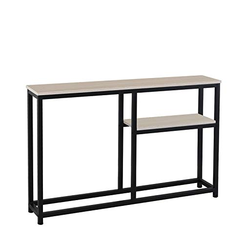 SogesPower Mesa consola pasillo, estantes, mesa de vestíbulo, mesa con estante, salón, dormitorio, escritorio, mesa auxiliar, mesa auxiliar de madera, para salón, dormitorio, pasillo, DX-122