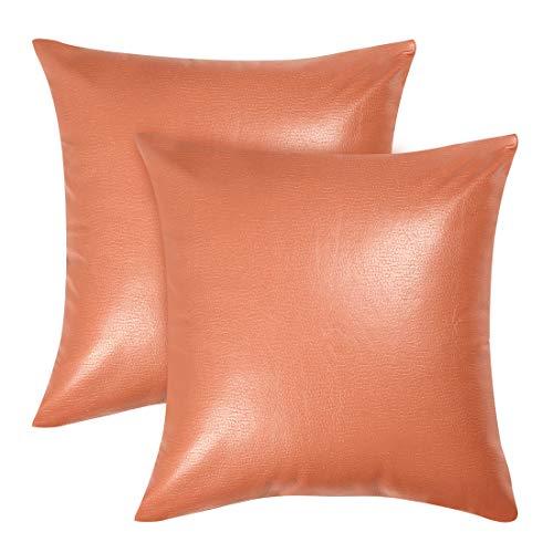 Sourcingmap - Federa per cuscino quadrata, in ecopelle, decorativa, per divano, letto, 45,7 x 45,7 cm, Similpelle, Arancione, 2 pezzi