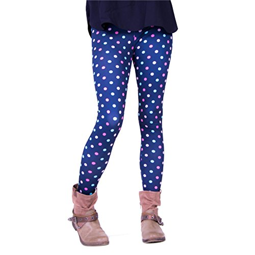 cosey Damen Bedruckte Bunte Leggings, Farbige Punkte, Einheitsgröße