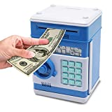 Password Piggy Bank Digital Electronic Money Bank Mini ATM Cash Coin Saving Can Toys Birthday Gifts for Kids Blue White