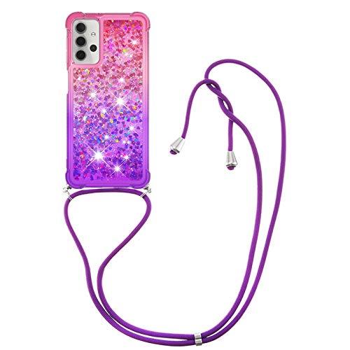 HülleLover Handykette Handyhülle für Samsung A32 5G, Glitzer Flüssig Bewegende Treibsand Transparent Silikon Hülle mit Kordel zum Umhängen Necklace Phone Hülle Band für Samsung Galaxy A32 5G, Pink Lila