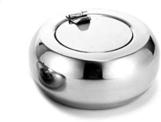 GAOTING Ashtray/home ashtray, stainless steel ashtray circular lid cigarette ashtray (Color : Silver, Size : XS)