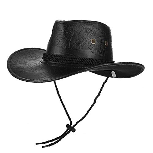Ajustable Unisex clásica del Vaquero Occidental del Cuero de ala Ancha Sombrero de Sun de la PU Agujeros Transpirable Gorra Negra