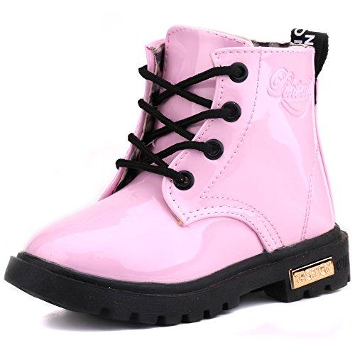 LONSOEN Boys Girls Waterproof Lace/Zip Up Kids Boots, Light Purple, KDB002 CN21