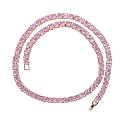 Rose Gold Pink cz Tennis Chain Jewelry Set Pinky Girl Fashion Necklace Bracelet Ring Set