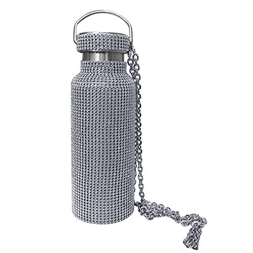 GHJGHJ Botella de Termo de Lujo de Lujo de Acero Inoxidable con Cadena de Hombro Cordones portátiles Botella de Agua portátil Regalos de Moda (Color : Silver-500ml)