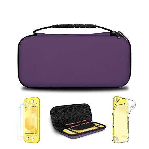 Simpeak Zubehör kompatibel mit Switch Lite, 4 in 1 Schutzzubehör, kompatibel für Switch Lite Hülle Tasche mit 2 Panzerglas