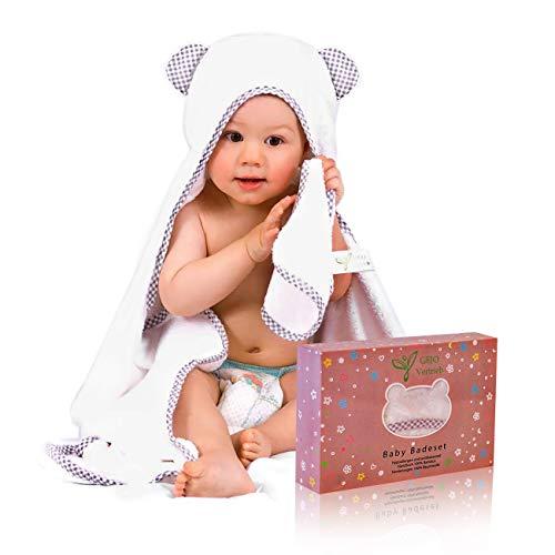 Kapuzenhandtuch Baby, 100% Bambus, weiß/grau, Baby Handtuch für Neugeborene 100x70cm + GRATIS Waschlappen, Baby Erstausstattung, Badehandtuch mit Kapuze, Kinderhandtuch extra groß Jungen und Mädchen