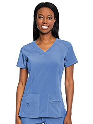 Med Couture Activate Women's V-Neck Racerback Scrub Top, Ceil, X-Small
