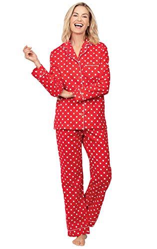 PajamaGram Flannel Pajamas Women Cozy - Boyfriend Pajamas for Women, Red, M, 8-10