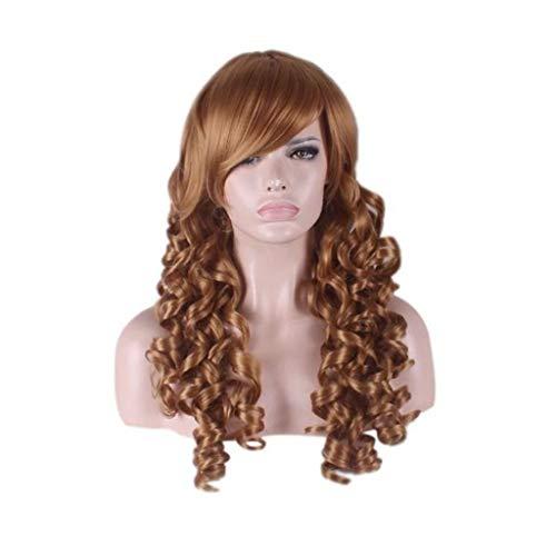 Perruque Lady Fluffy Longs Cheveux Frisés Big Wave Brun Jaune Faux Cheveux (Color : B FOUR, Size : PIECE SET)