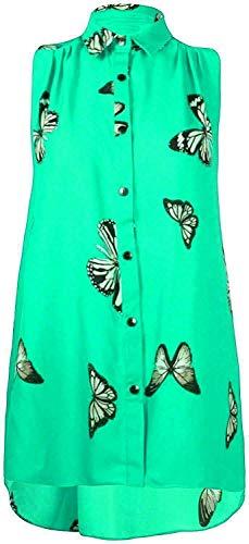 TrendyFashion Camiseta sin mangas con diseño de mariposa de gasa para mujer, tallas grandes, sin mangas, dobladillo desigual