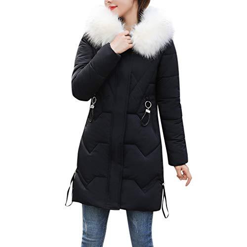 Zottom Mode Lange Damen Baumwolle Langarm Dicke warme Winddichte Kapuzenjacke aus Baumwolle(Schwarz,XXX-Large)