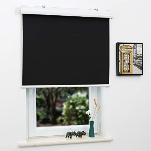 SUNFREE Blackout Window Shades Cordless Roller Shades for Window and Door, Home and Office, Black(Upgrade Version), 23'(W) x 72'(H)