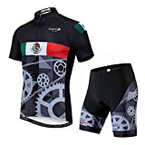 Men's Cycling Jersey Set and 3D Gel Padded Shorts MTB Road Bike Jersey Suit,Cycle Shirt Top Quick Dry Mexico Gear Size XL