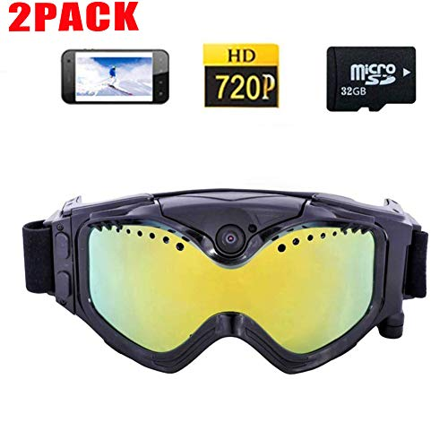 APPLL HD Skibrille Goggles Sport-Kamera-Buntes Doppelte Anti-Fog-Objektiv Für Ski Mit Live-Bild Videoüberwachung (2 Pack + 2 Pack 32GTF),2pack+2pack32gtf