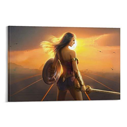 SSKJTC Único lienzo para pared con películas de la Mujer Maravilla bajo la luz del sol, Diana Gal Gadot, decoración de pared, 40 x 60 cm