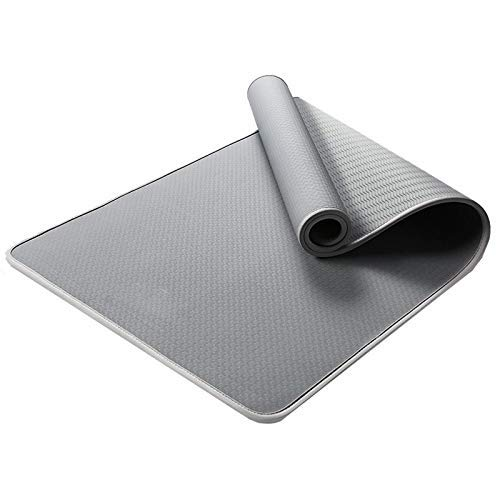 8bayfa Antiscivolo Mat Viso Yoga ampliato addensata Sport Fitness Sit-up Tappetino da addestramento Adatto for Gli Uomini delle Donne Principianti e.1211 (Color : Grey, Size : 15mm)